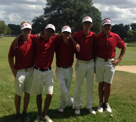 Golf team members, Mills Meier, Tyler Kaman, Mason Parcus, Langston James and Denver Schneider, smile as they finish up their two day 54 hole golf tournament.
