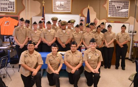Members of the NJROTC gather to celebrate the Navy's 241 birthday on October 13.  Cadets have begun their fundraising and will continue until January 1.
