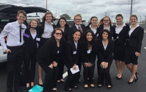 The FHS HOSA team at the Area Competition. Back row from left to right: Riley Shuffield, Cheyenne Beals, Molly Pluenneke, Courtney Petsch, Chase Jenschke, Ashley Harris, Tara Wilke, Kyndal Esensee, Taylor Deforge. Front row from left to right: Kassidy Anderson, Estreya Moreno, Lizeth Albiter and Andrea Noriega.