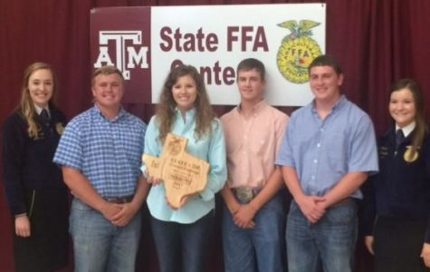 The Fredericksburg FFA livestock judging team pose for a photo together after winning the state contest. From left to right, Bryce Bowers, Lindsey Behrends, Brant Bowers, Reed Sultemeier.