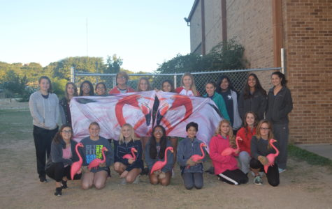 The FHS Color Guard is ready to flock unsuspecting Fredericksburg residents with their flamingos.