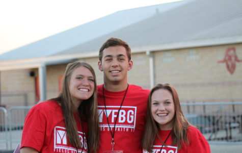 Students Landry Moffett, Bryce Erwin and Taylor Wilder spoke at Fields of Faith.
