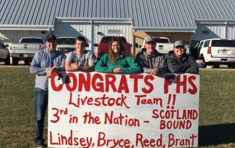 Patrick Padgett, FFA teacher, and current FHS junior Brant Bowers, and former FHS students, Lindsey Behrends, Reed Sultemeer and Bryce Bowers placed third at the state livestock show judging contest.