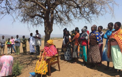 The women of Midibini Village gather after their weekly church service.