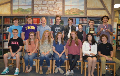 Students advancing to regionals are Gus Martin (Accounting), Katya Walker (Current Issues), Molly Pluenneke (Headlines), Sydney Holster  (Current Issues), Caitie Huff (News Writing), Victoria Tribino (Spelling) and Jadon Trujillo (Accounting). Row 2:  Landon Priess (Ready Writing and Editorial Writing), Cullen Yates (Computer Applications), Carl Wilger (Current Issues), Will Guzy (Social Studies), Esten Cooke (Current Issues), Carson Barnes (Lincoln Douglas Debate), Chad Braden (Accounting) and Darien Robles (Accounting).