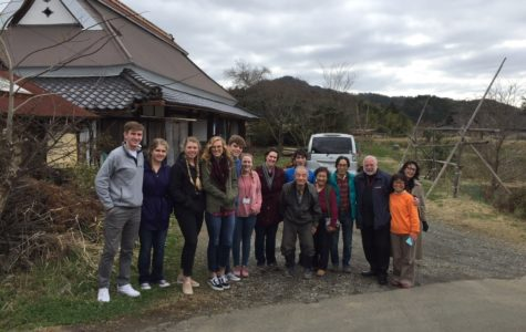 The students gather for a photo with locals from the little town of Ayabe, where the students spent a night during their time in Japan.