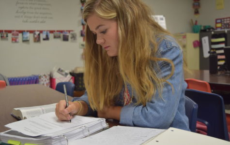 Junior Claire Maxcey studies rigorously as multiple tests are right around the corner.
