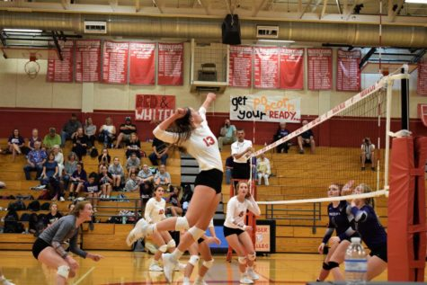 Rose Stuewe goes in for the kill against the Navarro Panthers.