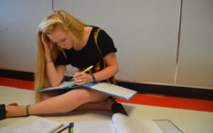 Senior Sydney Cohn stresses over schoolwork.