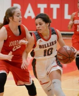 Mia Torres drives past Jourdanton defender in 54-36 win at home. Shot by Richelle Wilson.