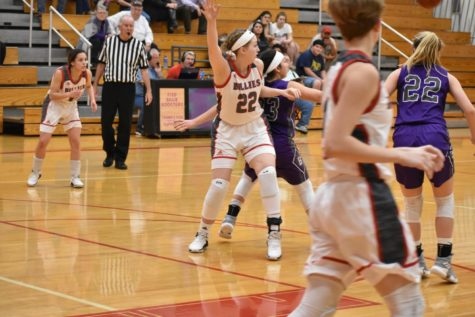 Addie Burlison posts up for the ball in the key.