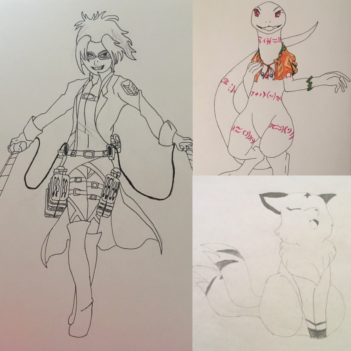This photo is of anime drawings from various anime series.