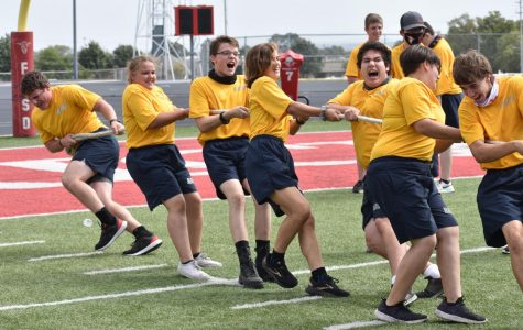 The FHS NJROTC team competes in games and activities on the football field.