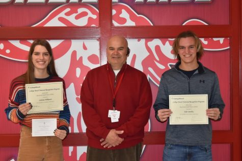 Congratulations to Carlotta Wilkson and Tyler Smedley, who were recognized by the College Board as part of the national rural and small town program for ranking in the top 2.5% of PSAT:NMSQT test takers.Wilkinson was also recognized by the National Merit Scholarship Corporation as a commended student.